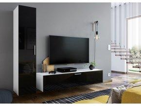 Obývací stěna OREGANO bílá/černý lesk