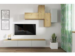Obývací stěna REGINA dub artisan/stone gray