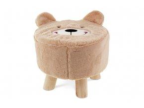 Taburet - medvěd, béžová látka, dřevěné nohy