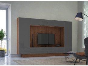 Obývací stěna NOX ořech/grafit lesk