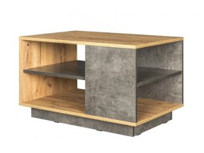 Konferenční stolek ARCHI dub kraft zlatý/tmavý kámen