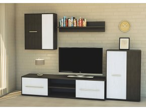 Obývací stěna ZETA wenge/bílá