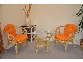 Ratanová sedací souprava Bahama malá medová polstry oranžový melír