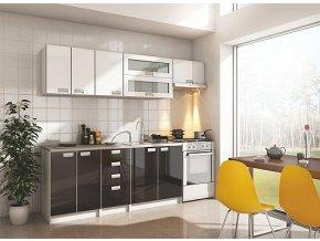Kuchyňská linka ZORBA 240 cm bílá/černá