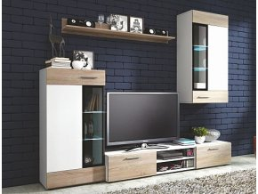 Obývací sestava TWINGO bílá / dub Sonoma