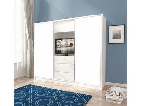 Skříň TV 250 šatní 3D bez zrcadel, výklenek pro TV bílá/bílá mat - bez zrcadel