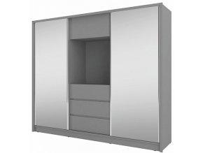 Skříň TV 250 šatní 3D se zrcadly, výklenek pro TV bílá/bílá mat