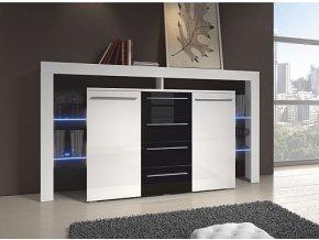 TV stůl RIVA II PLUS bílá / černá