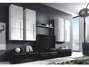 Obývací stěna BARR bílá/bílý lesk
