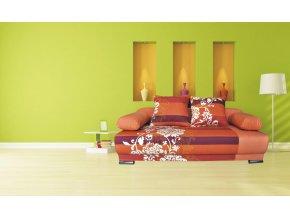 Pohovka Futon oranžový květ