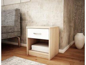 Noční stolek MARK 026 dub sonoma/bílá