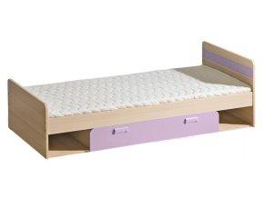 LIMO L13 postel s úložným prostorem jasan/fialová