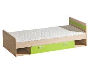 LIMO L13 postel s úložným prostorem jasan/zelená