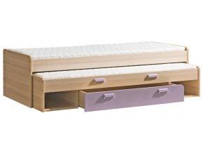 LIMO L16 výsuvná postel s úl. prostorem jasan/fialová