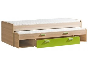 LIMO L16 výsuvná postel s úl. prostorem jasan/zelená