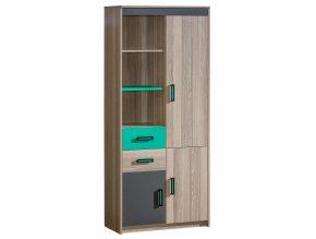Kombinovaná skříň ULTTIMO U3 jasan/zelená