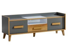 Televizní stolek NAPOLA 7 antracit/bílá/dub riviera