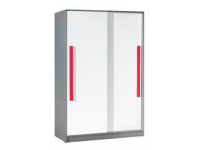 Šatní skříň s posuv. dveřmi GYT 13 antracit/bílá/červená