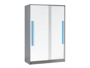 Šatní skříň s posuv. dveřmi GYT 13 antracit/bílá/modrá
