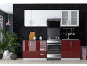Kuchyně GLAMOUR 240 bordo/bílá metalic