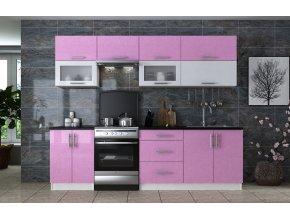 Kuchyně GLAMOUR 260 sukura/bílá metalic
