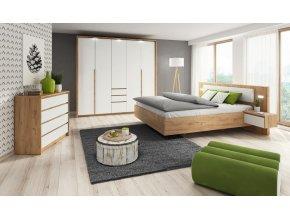 Ložnice LOCA kraft/bílá (skříň 230 LED, postel 160, komoda 93)