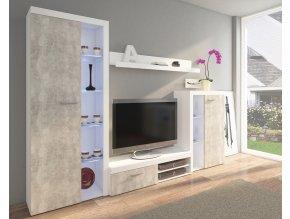 Obývací stěna RUMBA bílá/beton