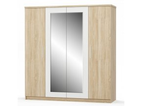 Šatní skříň 4D MARKOS dub sonoma/bílá/zrcadlo