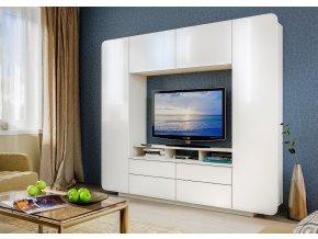 Obývací stěna RUMBA bílá/bílá lesk