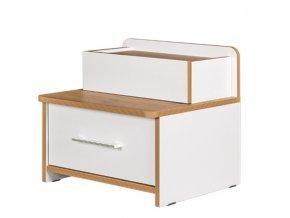 Noční stolek WOODY bílá/dub kraft zlatý