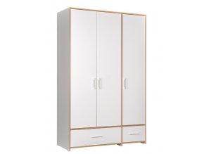 Šatní skříň 3-dveřová WOODY bílá/dub kraft zlatý