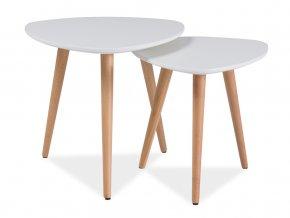 Konferenční stolky - komplet NOLAN A bílá/buk