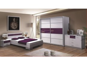 Ložnice CLEMENTE F (postel 160, skříň, komoda, 2 noční stolky)