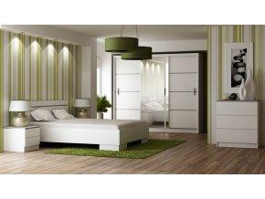 Ložnice SANDINO bílá (postel 160, skříň, komoda, 2 noční stolky)