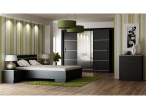 Ložnice SANDINO černá (postel 160, skříň, komoda, 2 noční stolky)
