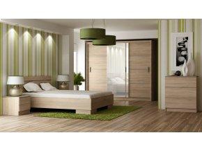 Ložnice SANDINO sonoma (postel 160, skříň, komoda, 2 noční stolky)