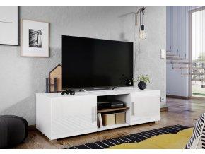 Televizní stolek JERSEY bílá/bílý lesk