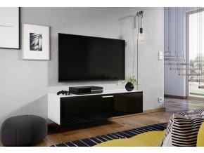 Televizní stolek ALABAMA bílá/černý lesk