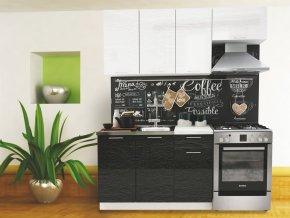 Kuchyně VALERIA 180 bk/black/white stripe
