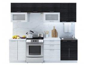 Kuchyně VALERIA I 240 bk/black/white stripe