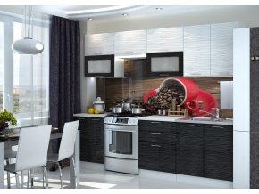 Kuchyně VALERIA 260 bk/black/white stripe