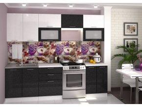 Kuchyně VALERIA 260 bílá/černý metalic