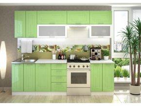 Kuchyně VEGA 260 bílý/sv.zelený metalic