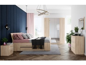 Ložnice KARO (postel 180, komoda, 2 stolky) dub sonoma