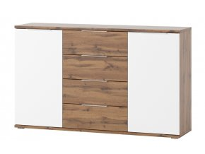 Komoda 2-dveřová LIVORNO 45 dub wotan/bílá