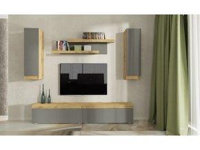 Obývací stěna IDAHO dub wotan/antracit mat