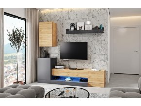 Obývací stěna WINNY dub wotan/antracit mat