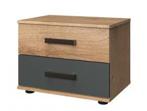 Noční stolek LOMAZA 697 dubové prkna/šedá grafit