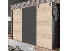 Šatní skříň LOMAZA 797 stříbrná jedle/šedá grafit