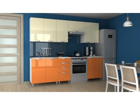 Kuchyňská linka Korry KRF 180/240 vanilka/oranžový lesk